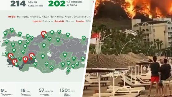 Места пожаров в Турции, которые еще бушуют